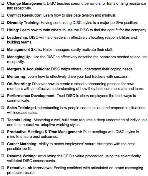 Westgate DISC assessment checklist