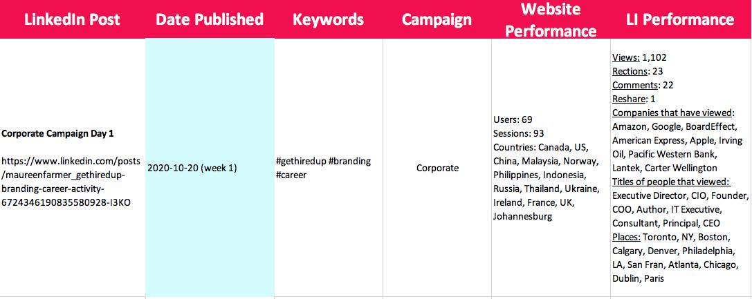Campaign Metrics Example