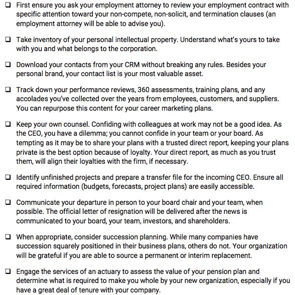 Exit Strategy Checklist